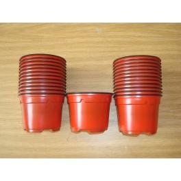 25 pots de 9 cm de couleur rouge