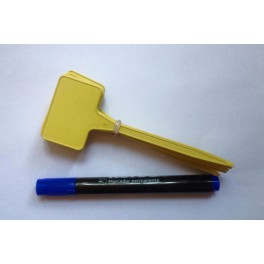 Etiquette 15 cm jaune + 1 marqueur Bleu