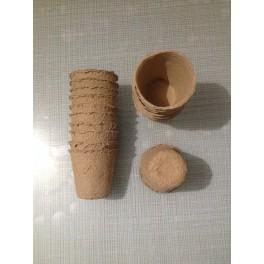 18 pots/Godets de tourbe Ø 7.5 cm