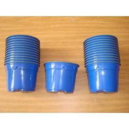 25 pots de 9 cm de couleur bleu